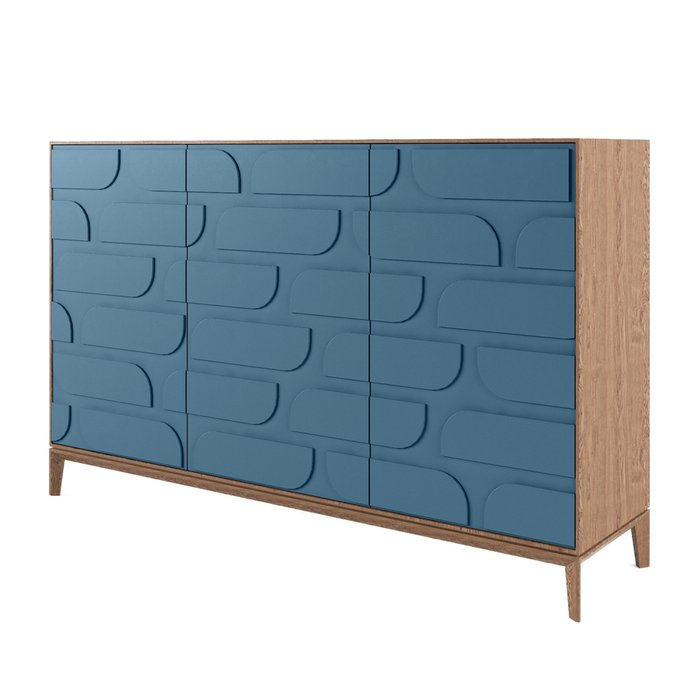 Комод The One с тремя дверцами Ellipse синего цвета
