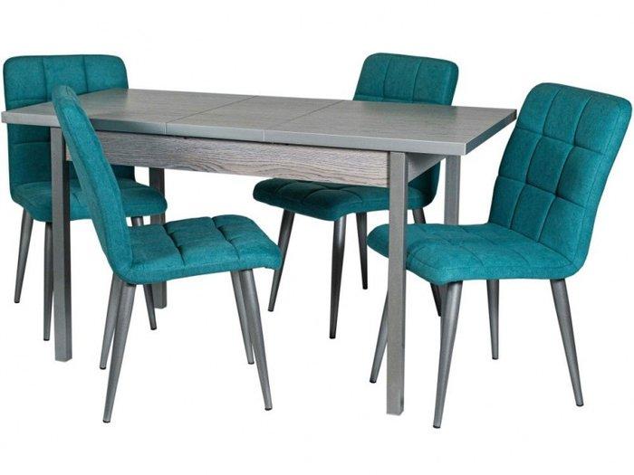 Обеденная группа из стола и четырех стульев цвета аквамарин