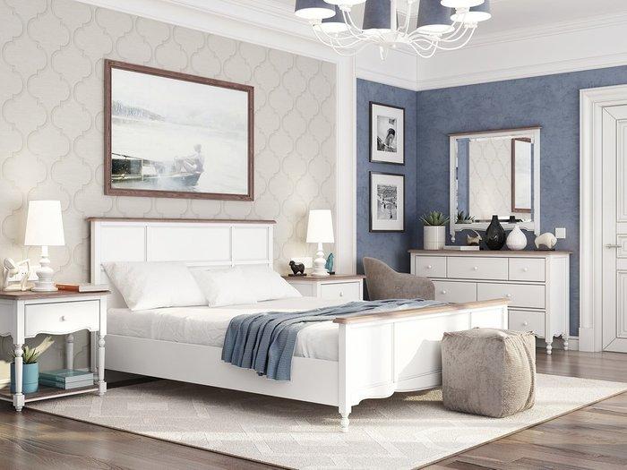 Кровать двуспальная Leblanc c изножьем белого цвета 180х200