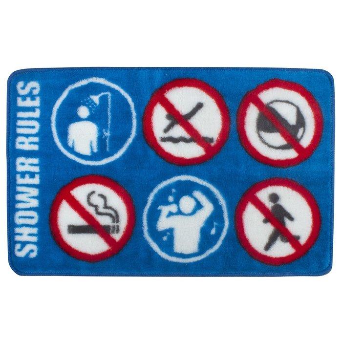 Коврик для ванной Shower Rule синего цвета