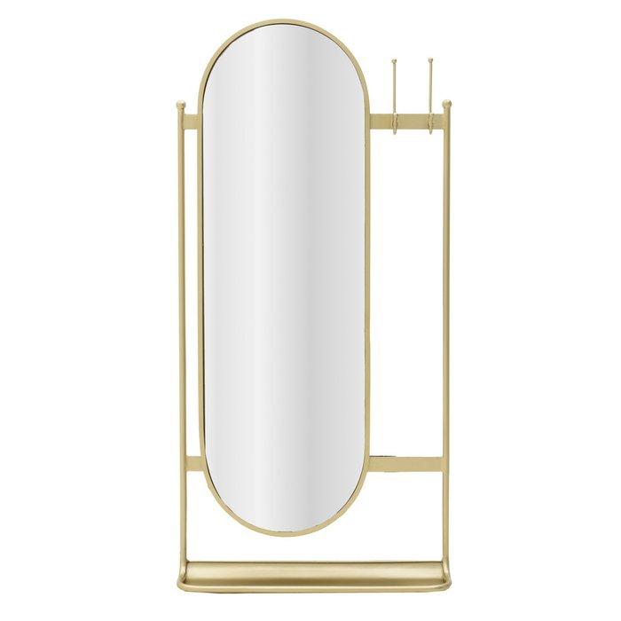 Зеркало настенное в раме золотого цвета с крючками