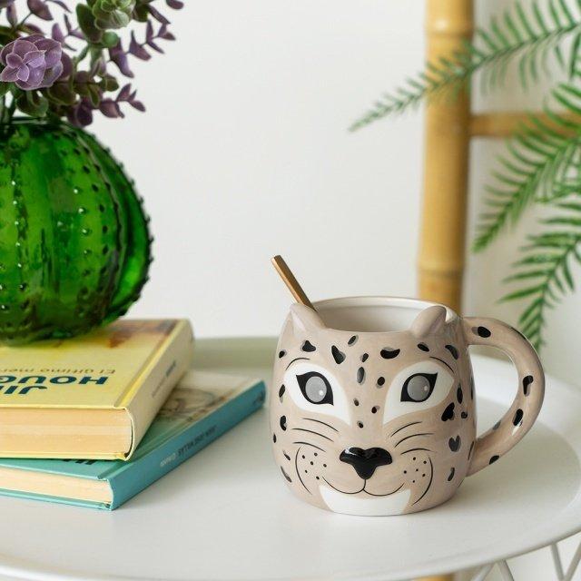 Кружка Leopard бежевого цвета
