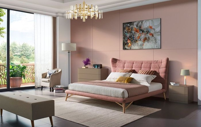 Кровать Venezia 180х200 кораллового цвета