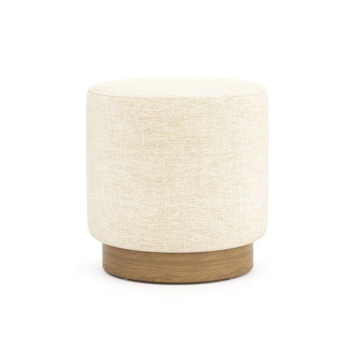 Пуф на деревянном основании Nordic светло-бежевого цвета