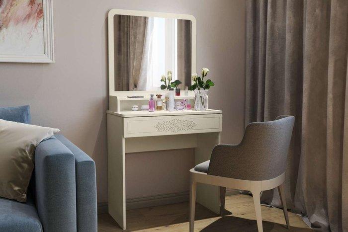 Туалетный столик Ассоль Лайт M бежевого цвета  с зеркалом