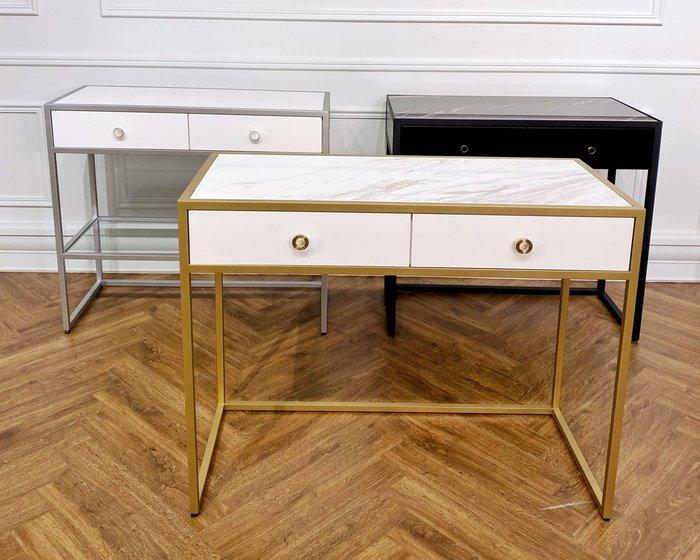 Стол-консоль с двумя ящиками и мраморной столешницей