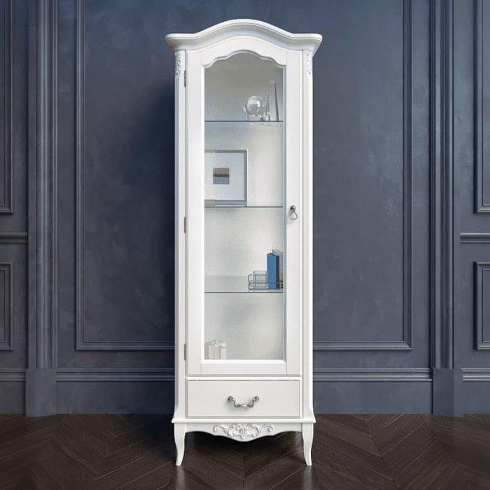 Витрина Akrata левая с зеркалом белого цвета