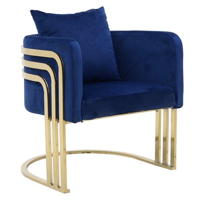 Кресло синего цвета с металлическим основанием