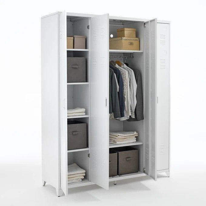 Шкаф Hiba белого цвета с четырьмя дверцами
