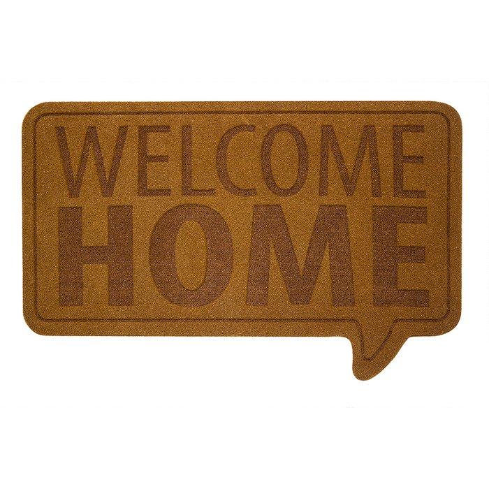 Коврик придверный Welcome Home коричневого цвета