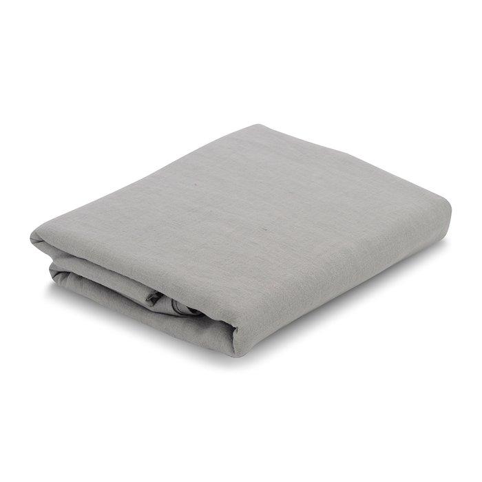 Простыня на резинке из льна серого цвета Essential 160х200