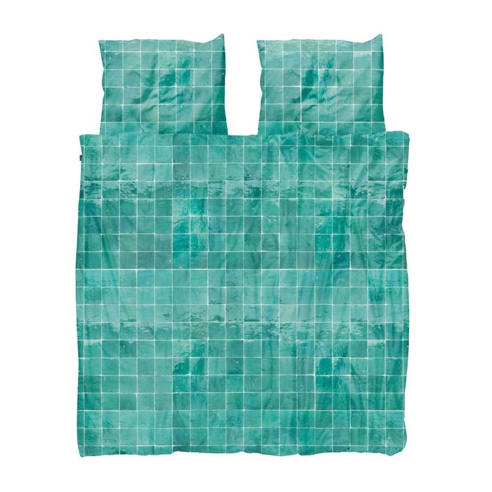 Комплект постельного белья Плитка изумрудного цвета 200х220