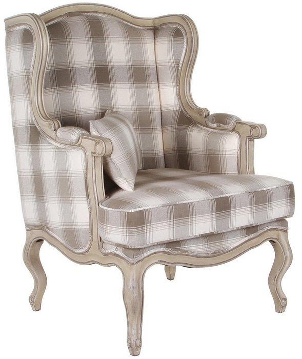 Кресло клетчатое Сезарина в отделке шато