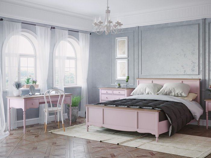 Кровать двуспальная Leblanc c изножьем цвета лаванды 180х200