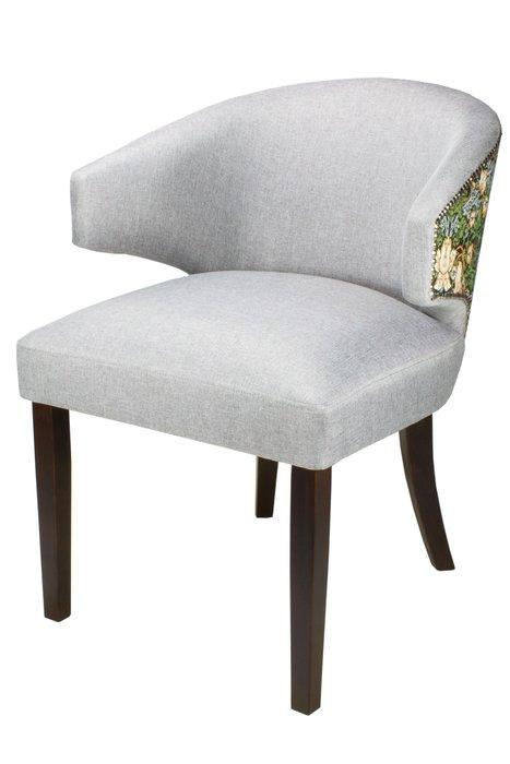 Стул-кресло мягкий зелено-серого цвета