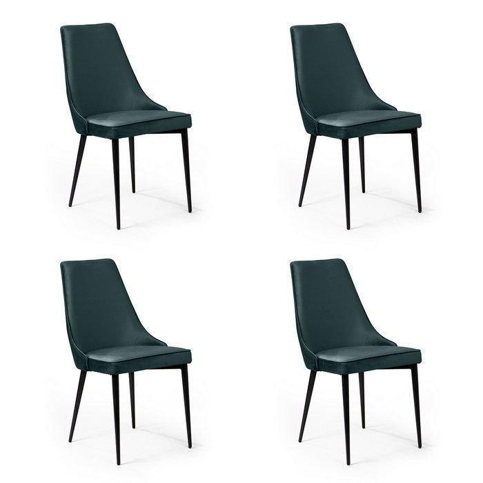 Комплект из четырех стульев Oliver изумрудного цвета