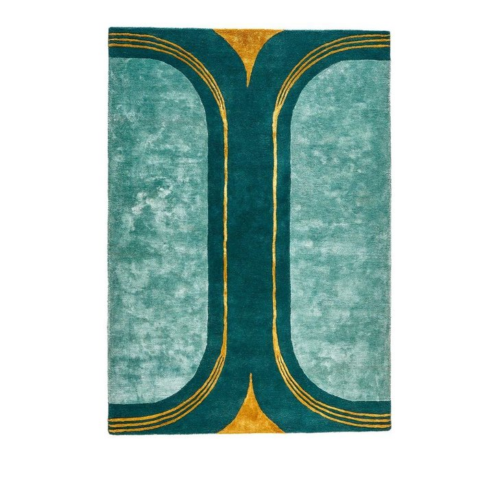 Ковер Seda из шерсти и вискозы зеленого цвета 120x170