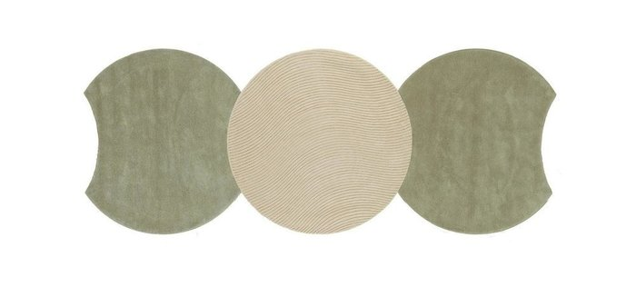 Круглый ковер Ego бежево-зеленого цвета 150 см