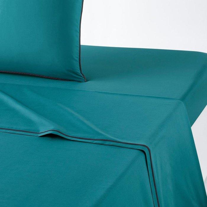 Простынь Duo из перкаля сине-зеленого цвета 240x290