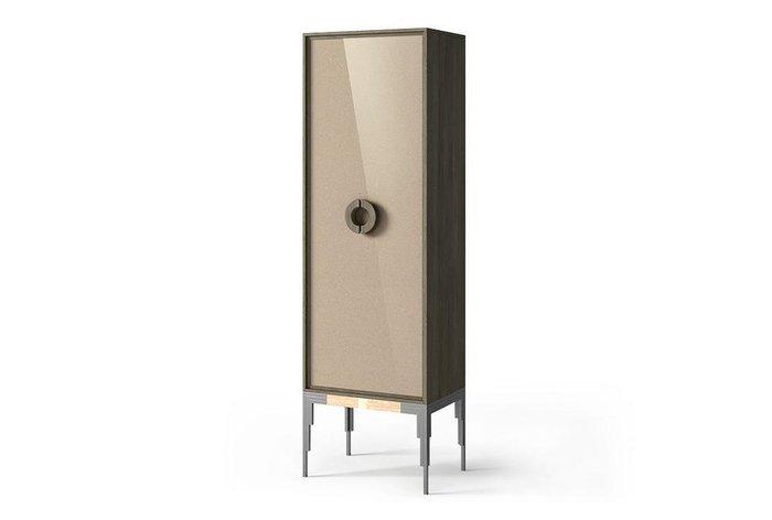 Шкаф с витриной Black серо-бежевого цвета (правый)