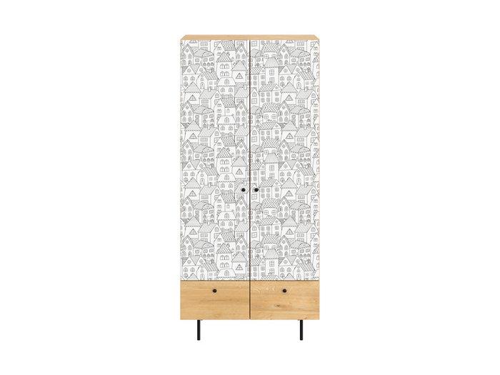 Шкаф Frida с бело-серым фасадом на металлических ножках