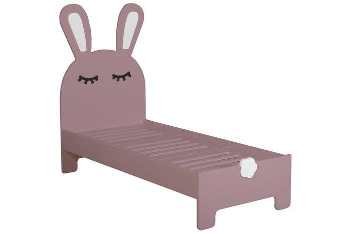 Детская кроватка Sleepy Bunny с двумя ящиками темно-розового цвета