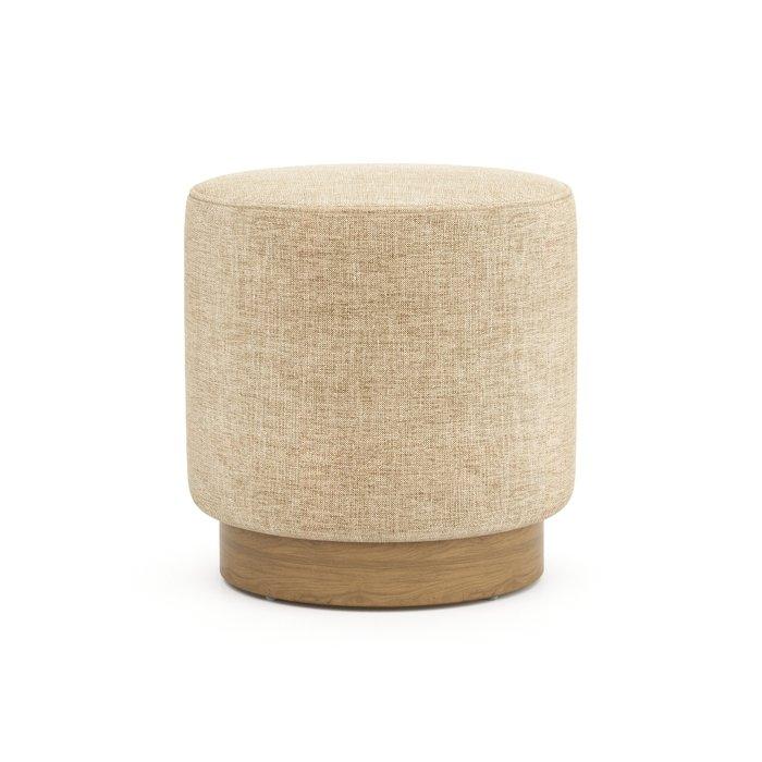 Пуф на деревянном основании Nordic темно-бежевого цвета