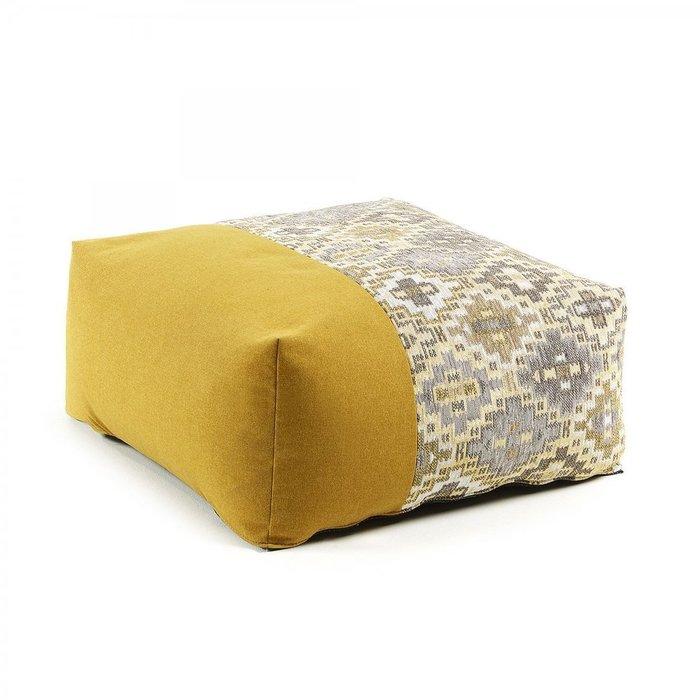 Пуф Cuzco в комбинированной ткани горчичного цвета