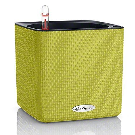 Кашпо Cube 16 лаймового цвета с системой автополива