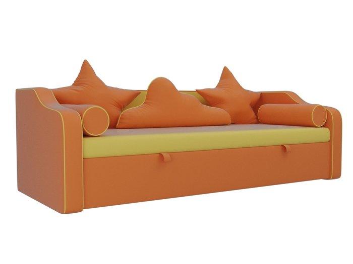 Прямой диван-кровать Рико оранжево-желтого цвета (экокожа)