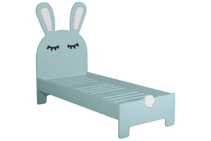 Детская кроватка Sleepy Bunny с двумя ящиками бирюзового цвета