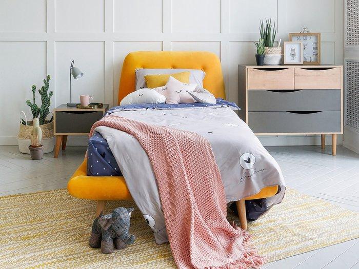 Кровать Loa 90х200 темно-синего цвета