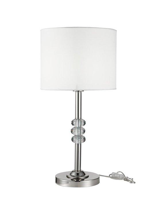 Настольная лампа Corey  с белыми абажурами и декором из стекла