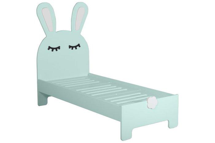 Детская кроватка Sleepy Bunny с двумя ящиками светло-бирюзового цвета