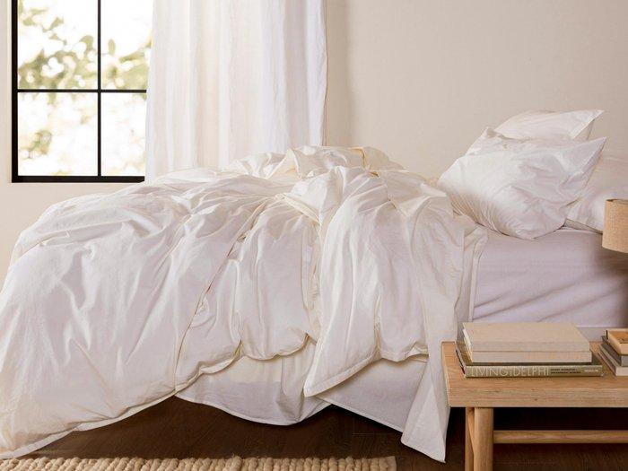 Комплект постельного белья кремового цвета 150х215 (семейный)