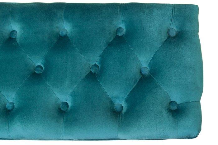 Оттоманка Kina narrow blue+white с велюровой обивкой