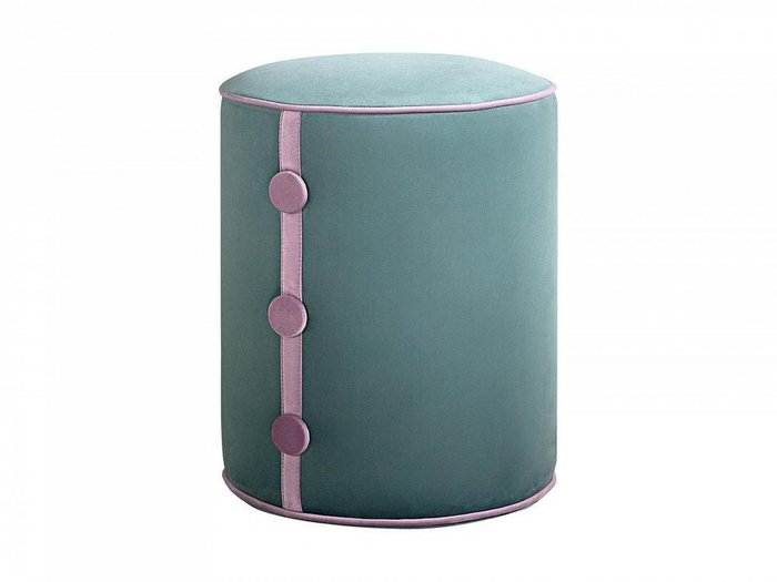 Пуф Drum Button серо-бирюзового цвета
