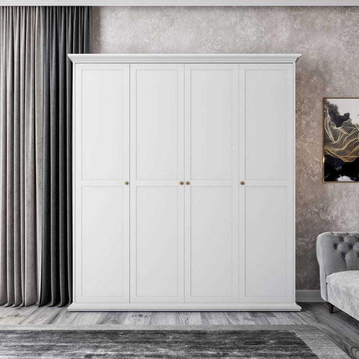 Шкаф Шарли белого цвета с четырьмя дверцами