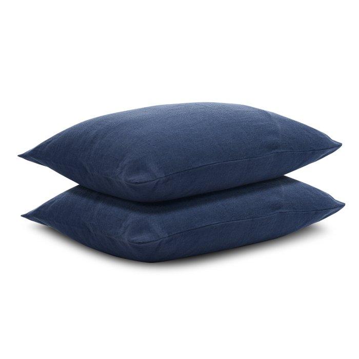 Наволочка изо льна темно-синего цвета