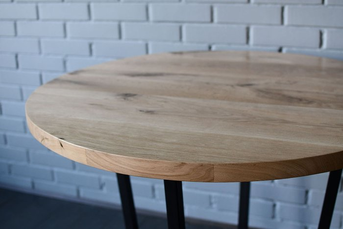 Круглый стол Slab Round из металла и дерева