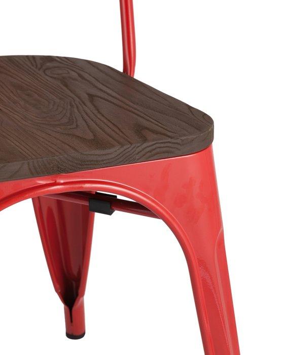 Стул Tolix Wood красного цвета