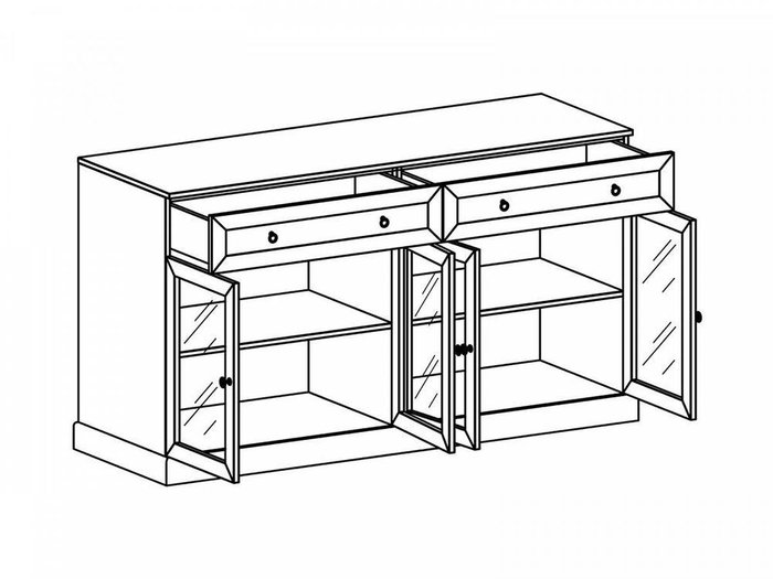 Комод Caprio серого цвета с ящиками и дверками