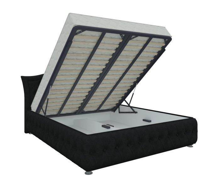 Кровать Герда 160х200 черного цвета с подъемным механизмом