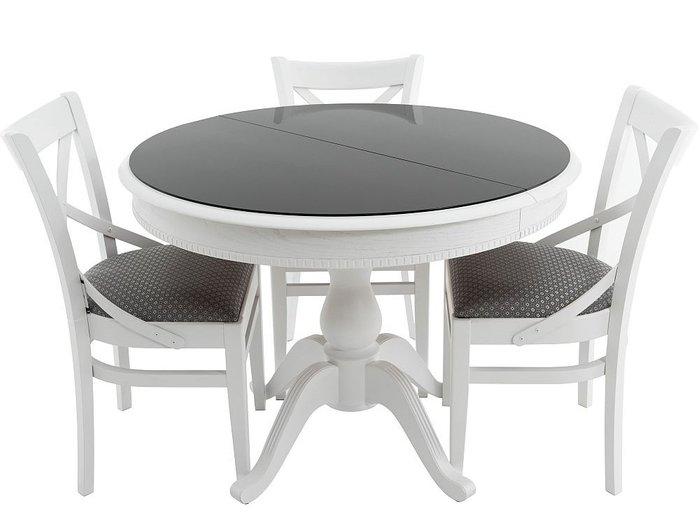 Стол раздвижной Фабрицио бело-черного цвета