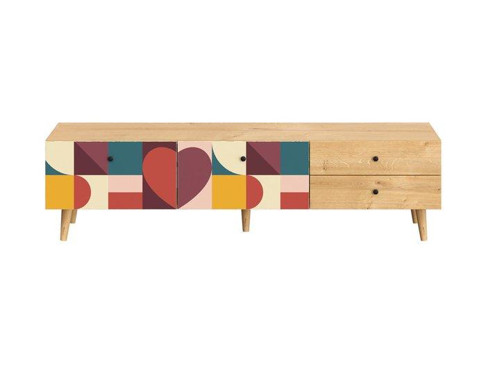 Тумба под TV Frida с разноцветным фасадом на деревянных ножках
