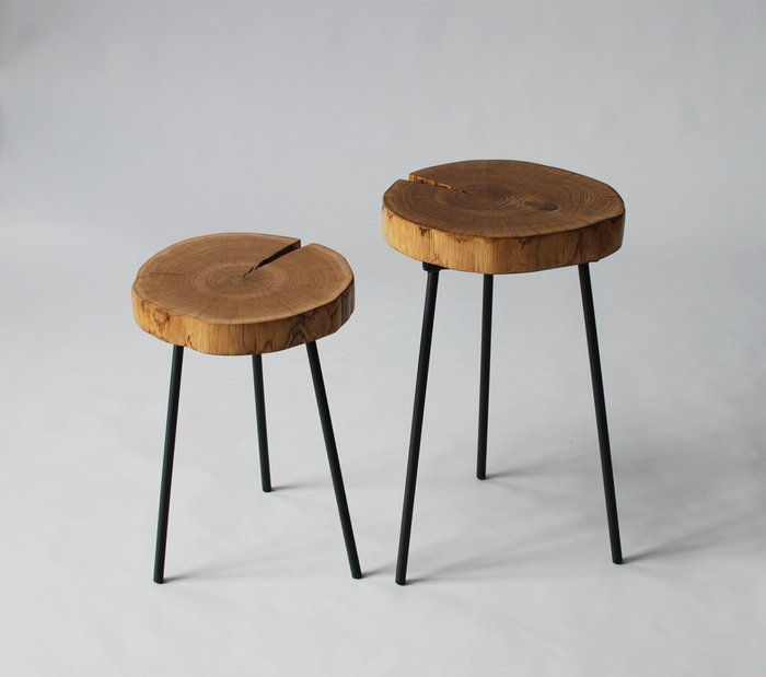 Стол из спила Tree 03 с черными ножками