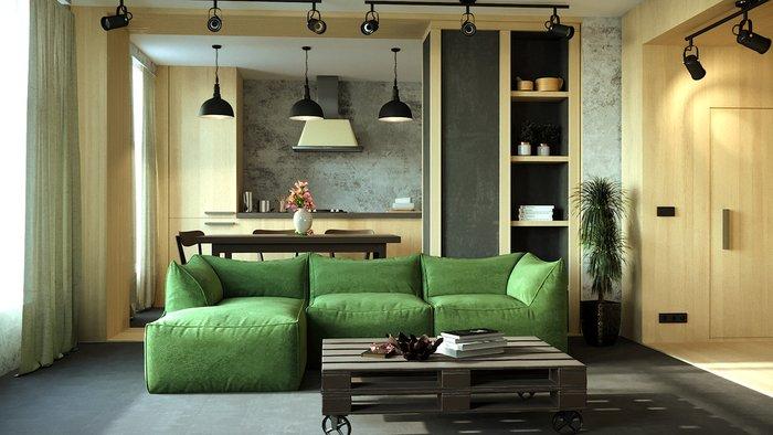 Диван для гостиной Angle зеленого цвета