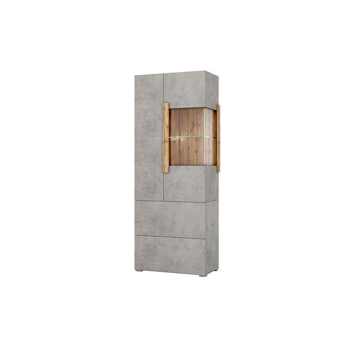 Шкаф-витрина Римини цвета Бетон чикаго