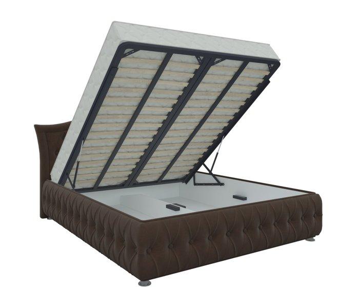 Кровать Герда 160х200 темно-коричневого цвета с подъемным механизмом