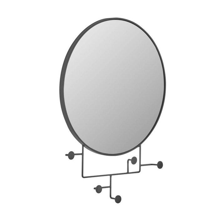 Настенное зеркало круглое Vianela с вешалками черного цвета